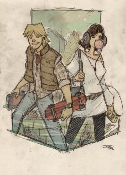 Luke and Leia as 1980's high school movie students.