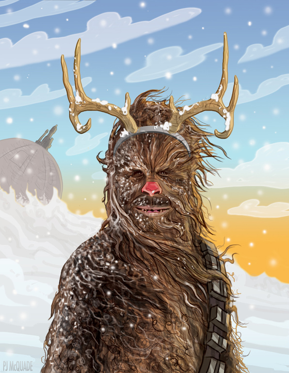 star wars chewbacca christmas card pj mcquade - Merry Christmas Star Wars