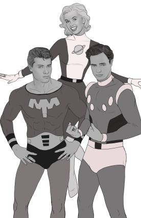 Tony Curtis, Marlon Brando, & Debbie Reynolds as the Legion of Superheroes